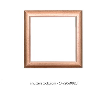 Empty wooden picture or photo frame isolated on white with clipping path, copy space in the frame. Template and background