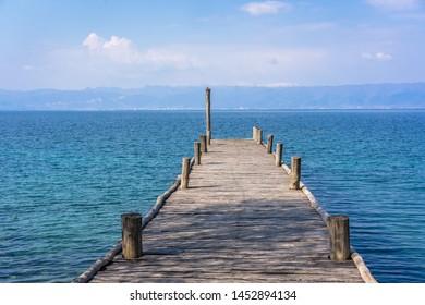 Empty wooden pier on Lake Ohrid, Republic of Macedonia
