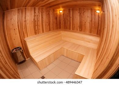 Empty wooden sauna fish-eye view