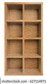 Empty wooden shelf, bookshelf or bookcase isolated on white