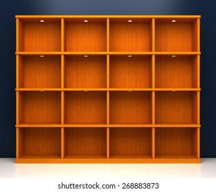 Empty wooden shelf, copy space image, 3d rendering. Original 3d model.