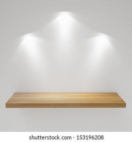 Empty Wooden  Shelf on the White Wall, Exhibit, Render