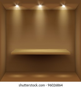 Empty wooden shelf in room, illuminated by searchlights.