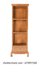Empty wooden shelf vintage cabinet like box isolated, work with clipping path.