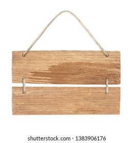 empty wooden sign frame with lope for hang on white background with clipping path
