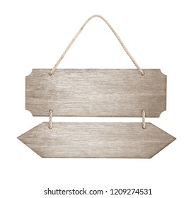 empty wooden sign with lope for hang on white background with clipping path