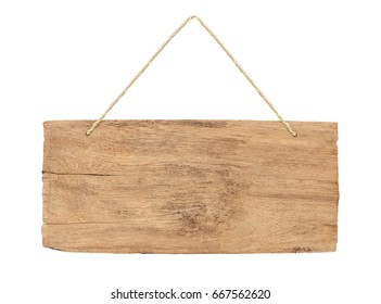 empty wooden sign with lope for hang on white background