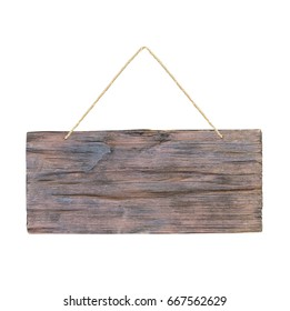 empty wooden sign with lope ofr hang on white background