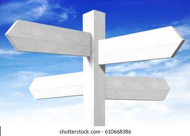Empty wooden signpost - four arrows