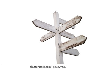 Empty wooden signpost with seven arrows - with clipping path