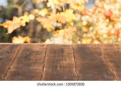 empty wooden table against the background of the autumn forest and the trees. copy space, a place to place an inscription or advertisement