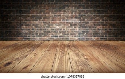 Empty wooden table and brick wall in background. 3d rendering