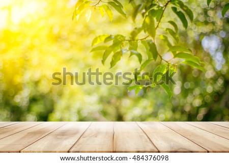 empty wooden table garden bokeh background stock photo edit now