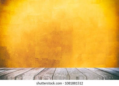 Empty Wooden Table with Gold Leaves Texture Background, Suitable for Presentation, Web Temple, Backdrop, and Product Display.