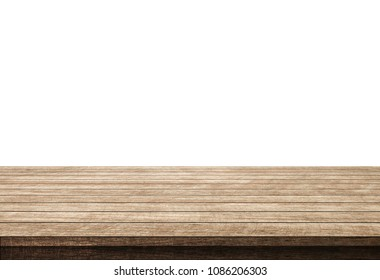 empty wooden table isolated on white background, wood floor can used for display or mock up your products.