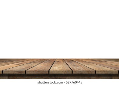 Empty Wooden table isolated on white.