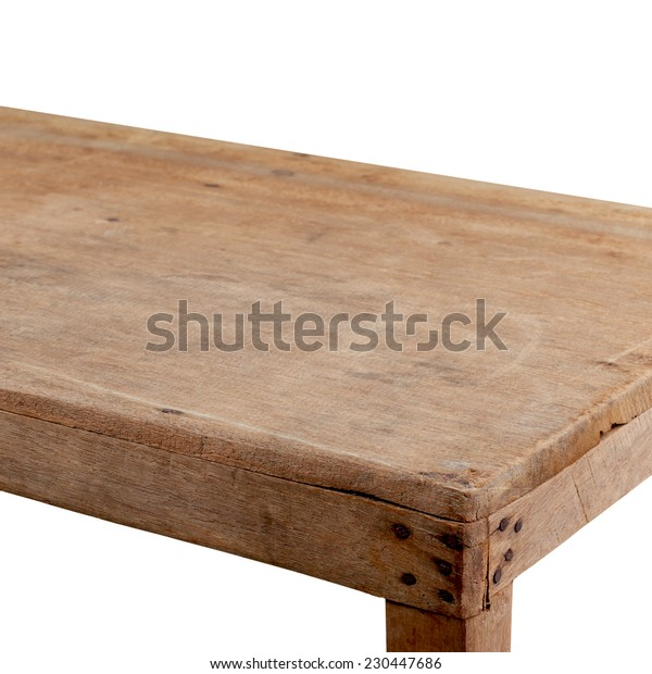 Empty wooden table isolated on a white background