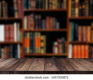 Empty wooden table and modern library background