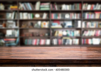 Empty wooden table and modern library background, product display.