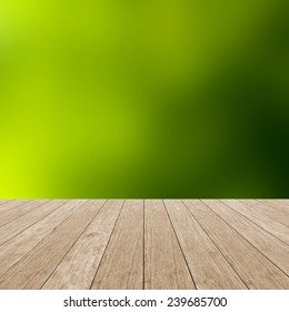 Empty wooden table and nature background