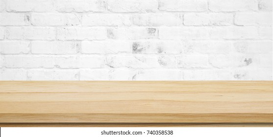 Empty wooden table over white brick wall, vintage, background, banner, template, product display montage