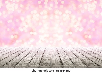 Empty wooden table with pink bokeh background blurred. Concept celebration, happy, romantic, art, valentines, love, wedding