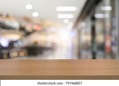 Empty wooden table platform blur background