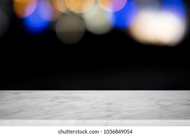Empty wooden table platform and bokeh at nigh for present product