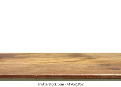 Empty wooden table for product placement or montage with focus to the table top in the foreground, with white background.