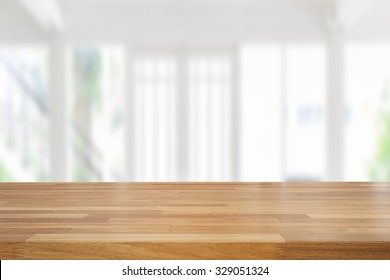 Empty wooden table and room interior decoration background, product montage display,window background