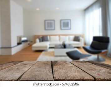Empty wooden table and room interior decoration background, product montage display