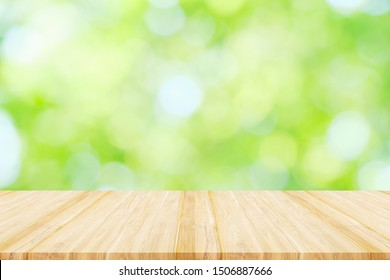 Empty wooden table or shelf with 