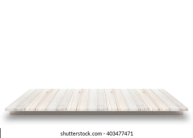 Empty wooden table or shelf wall isolated on white background, For present your products.