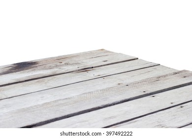empty wooden table top corner isolated on white background.