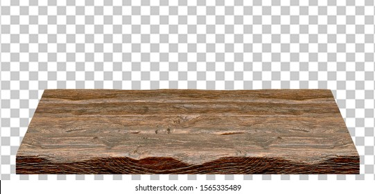 Empty wooden table top high angle from top isolated in white background including clipping path