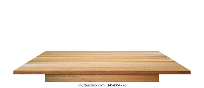 Empty wooden table top isolated on white background. with clipping path.