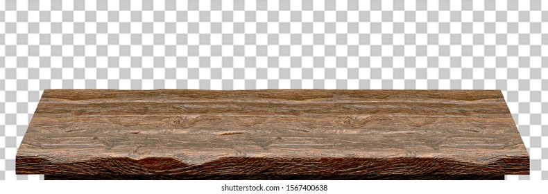 Empty wooden table top isolated on checkered background including clipping path.