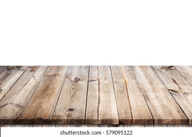 Empty wooden table top isolated on white background  for display or montage your products