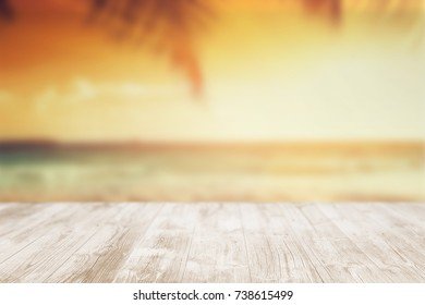 Empty wooden terrace on the beach. As stage template to your showcase.