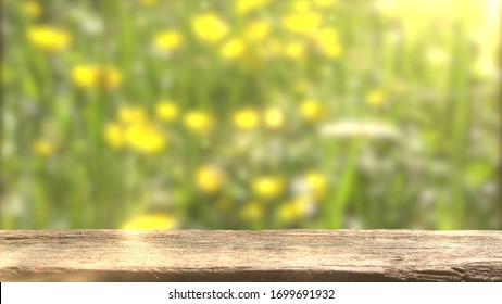Empty wooden top for product display. Natural background.