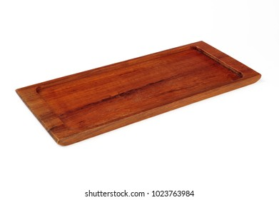 empty wooden tray isolated over white background