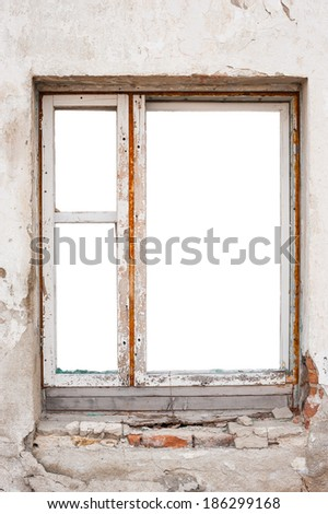 Empty Wooden Window Frame Wall Stock Photo (Edit Now) 186299168 ...