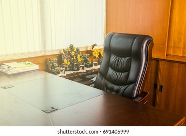 Empty workplace in office, Office for boss with sun illumination