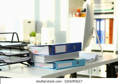 Empty workplace in office closeup or head hunter profession modern solution vacation season real estate premises lease coworking concept
