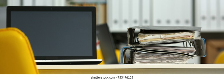 Empty workplace in office closeup or head hunter profession modern solution. Letterbox view