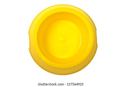 Empty yellow bowl isolated on white background