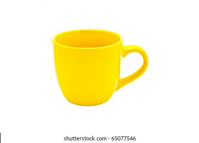 An empty yellow cup isolated on white