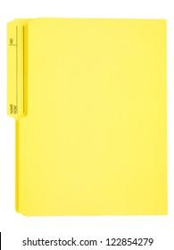 Empty yellow file folder on white.