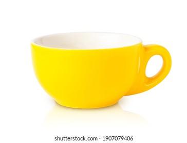 Empty yellow mug isolated on white, clip art