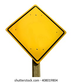Empty yellow road traffic sign template with copy space isolated on white background.